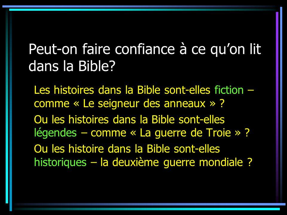 Peut-on faire confiance à ce quon lit dans la Bible.