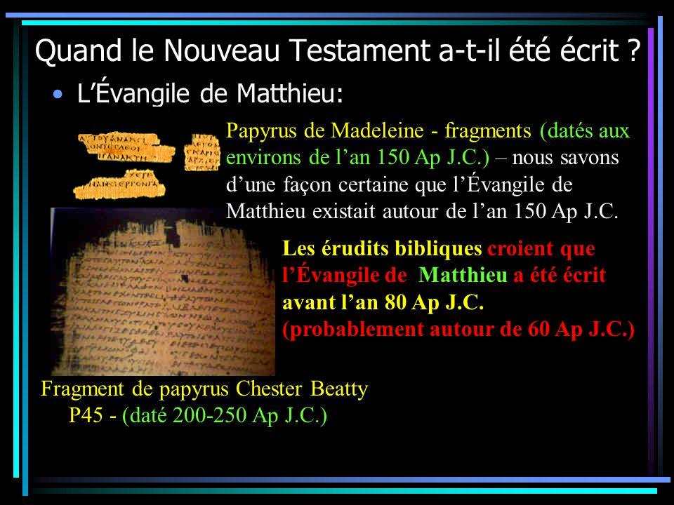 Quand le Nouveau Testament a-t-il été écrit .