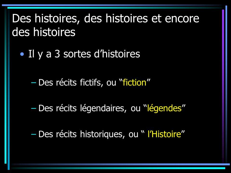 Des histoires, des histoires et encore des histoires Il y a 3 sortes dhistoires –Des récits fictifs, ou fiction –Des récits légendaires, ou légendes –Des récits historiques, ou lHistoire