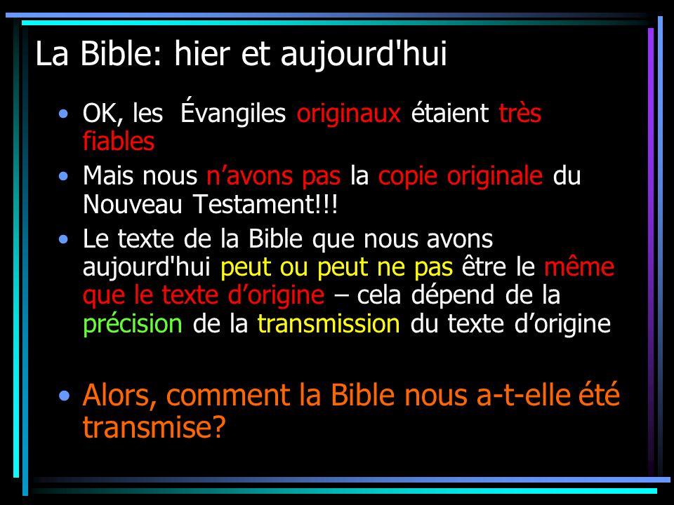 La Bible: hier et aujourd hui OK, les Évangiles originaux étaient très fiables Mais nous navons pas la copie originale du Nouveau Testament!!.