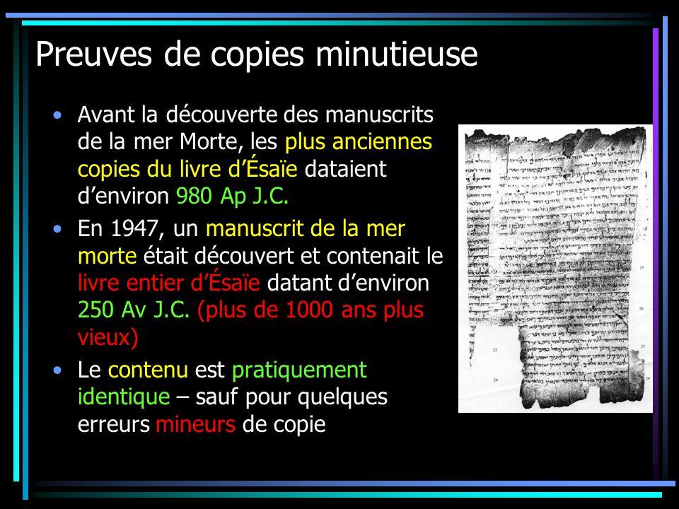 Preuves de copies minutieuse Avant la découverte des manuscrits de la mer Morte, les plus anciennes copies du livre dÉsaïe dataient denviron 980 Ap J.C.