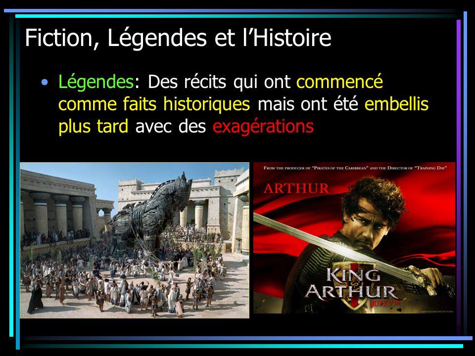 Fiction, Légendes et lHistoire Légendes: Des récits qui ont commencé comme faits historiques mais ont été embellis plus tard avec des exagérations