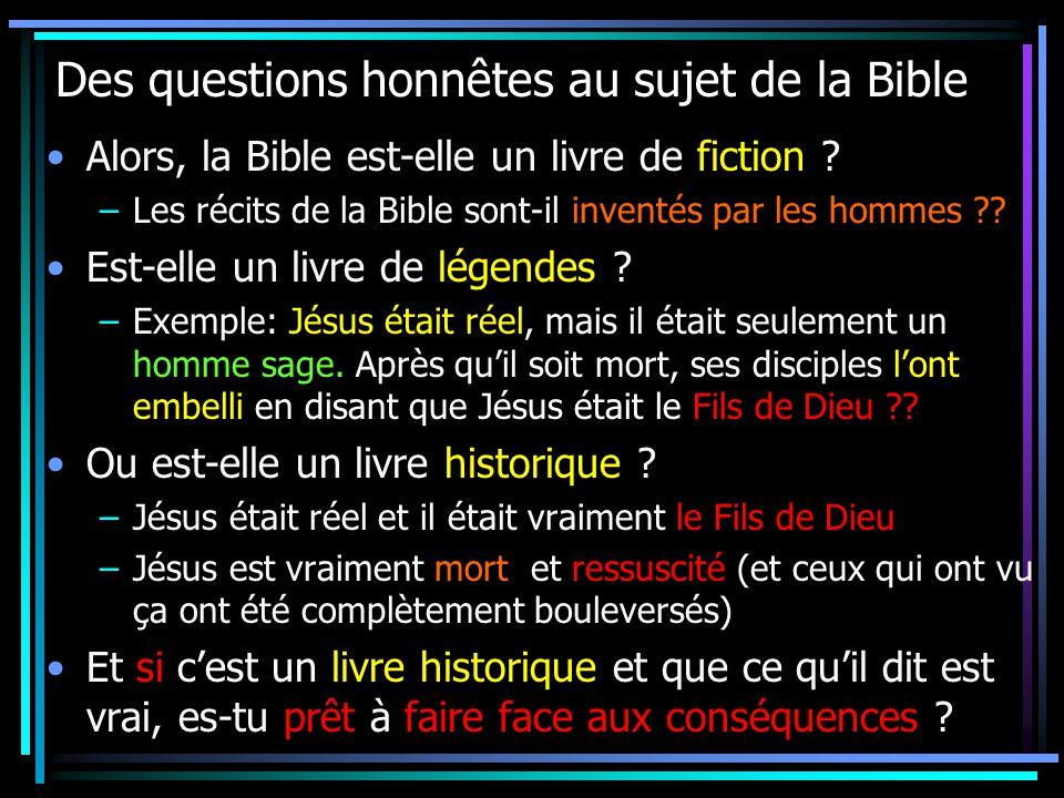 Des questions honnêtes au sujet de la Bible Alors, la Bible est-elle un livre de fiction .