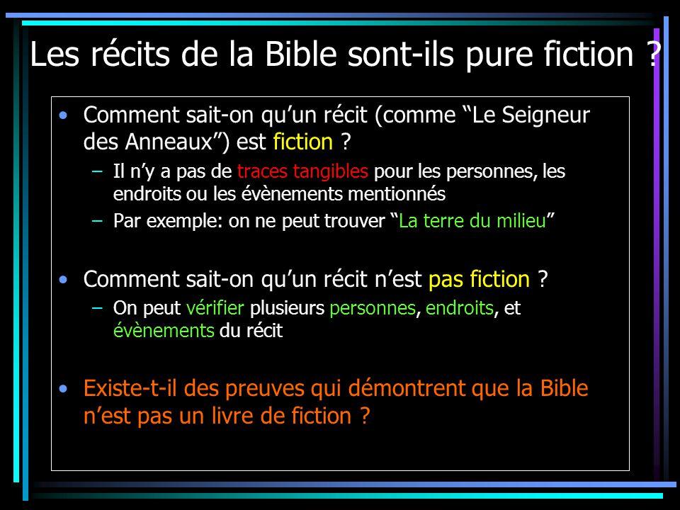 Les récits de la Bible sont-ils pure fiction .
