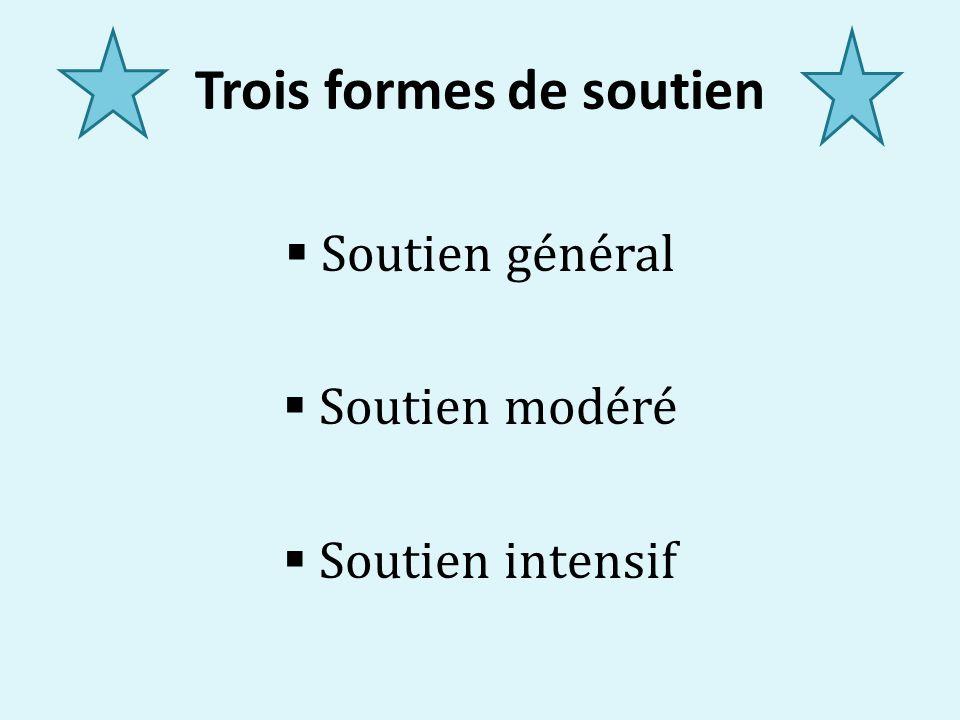 Trois formes de soutien Soutien général Soutien modéré Soutien intensif