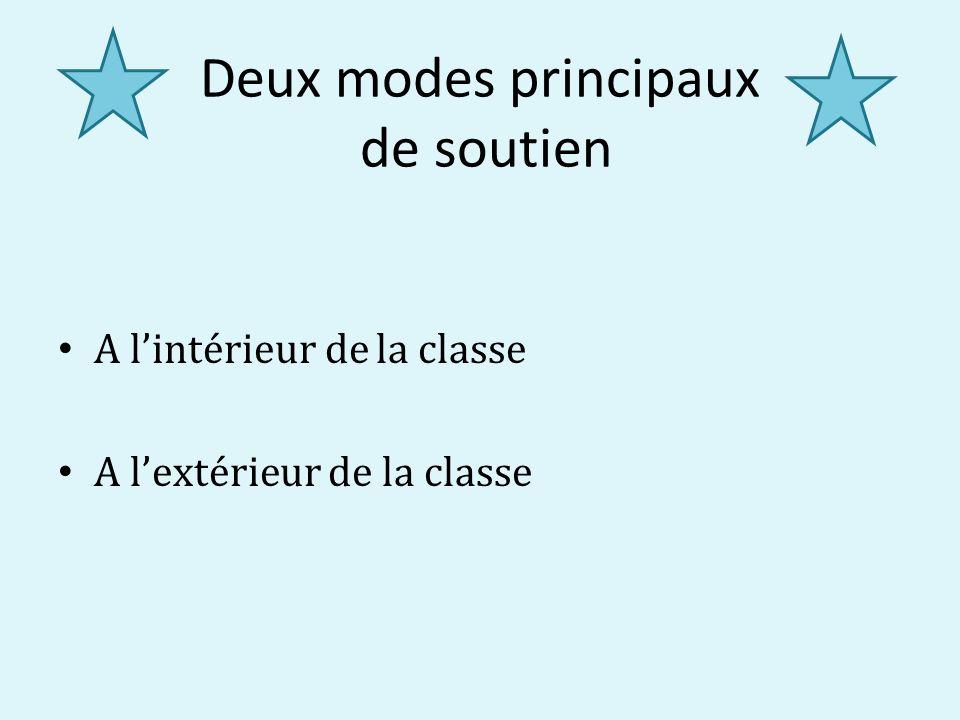 Deux modes principaux de soutien A lintérieur de la classe A lextérieur de la classe