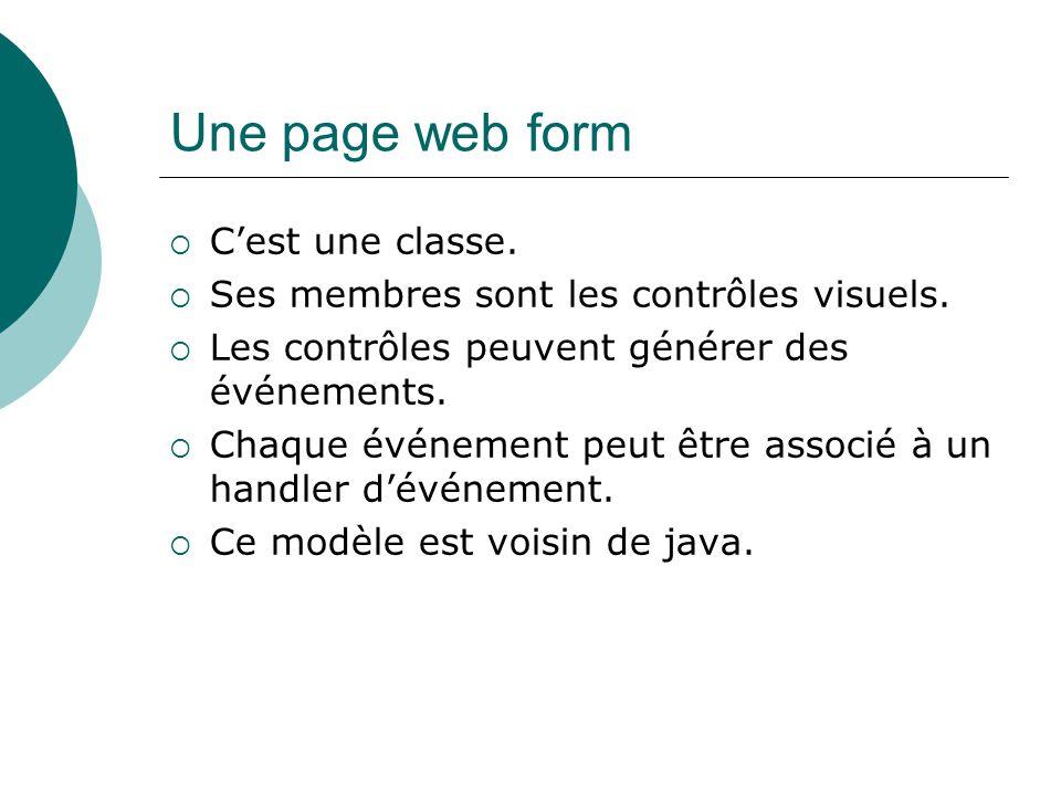 Une page web form Cest une classe. Ses membres sont les contrôles visuels.