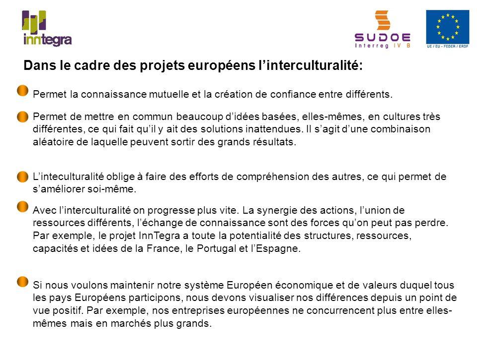 Dans le cadre des projets européens linterculturalité: Permet la connaissance mutuelle et la création de confiance entre différents. Permet de mettre
