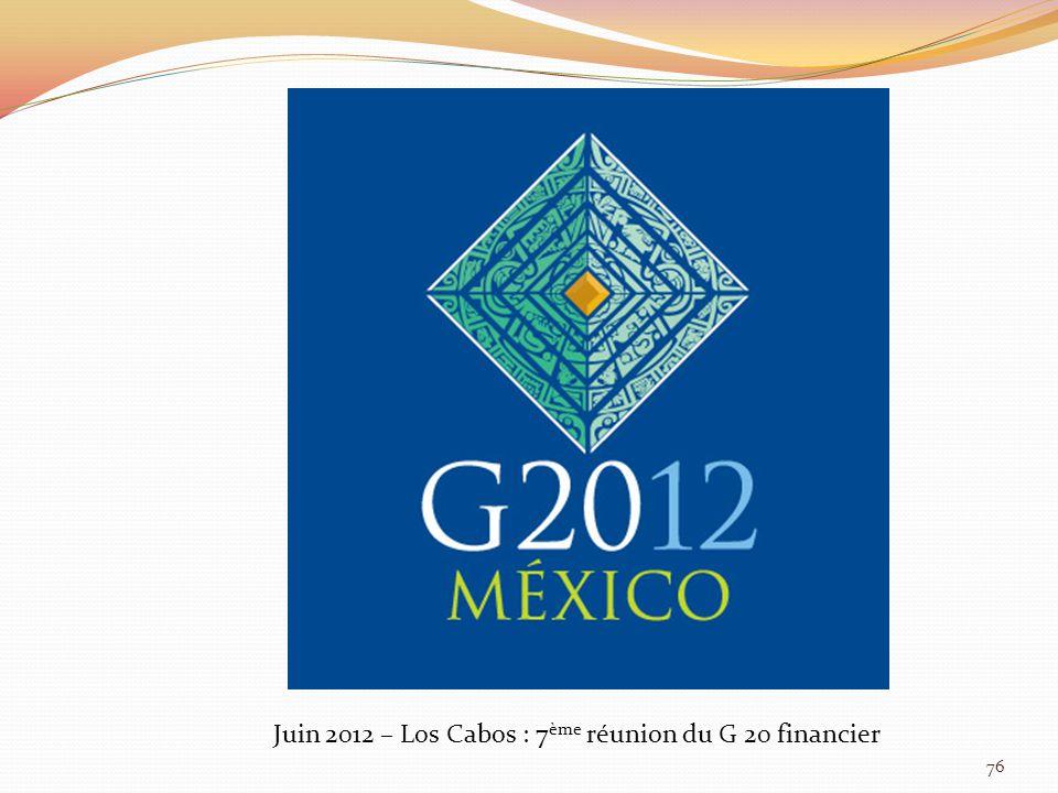 Juin 2012 – Los Cabos : 7 ème réunion du G 20 financier 76