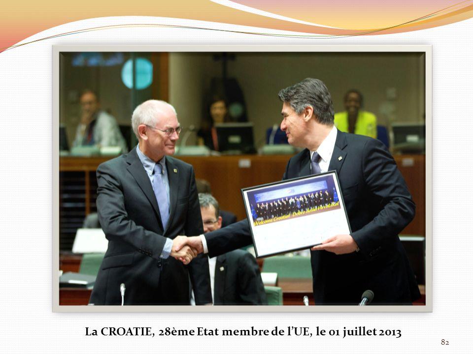 82 La CROATIE, 28ème Etat membre de lUE, le 01 juillet 2013