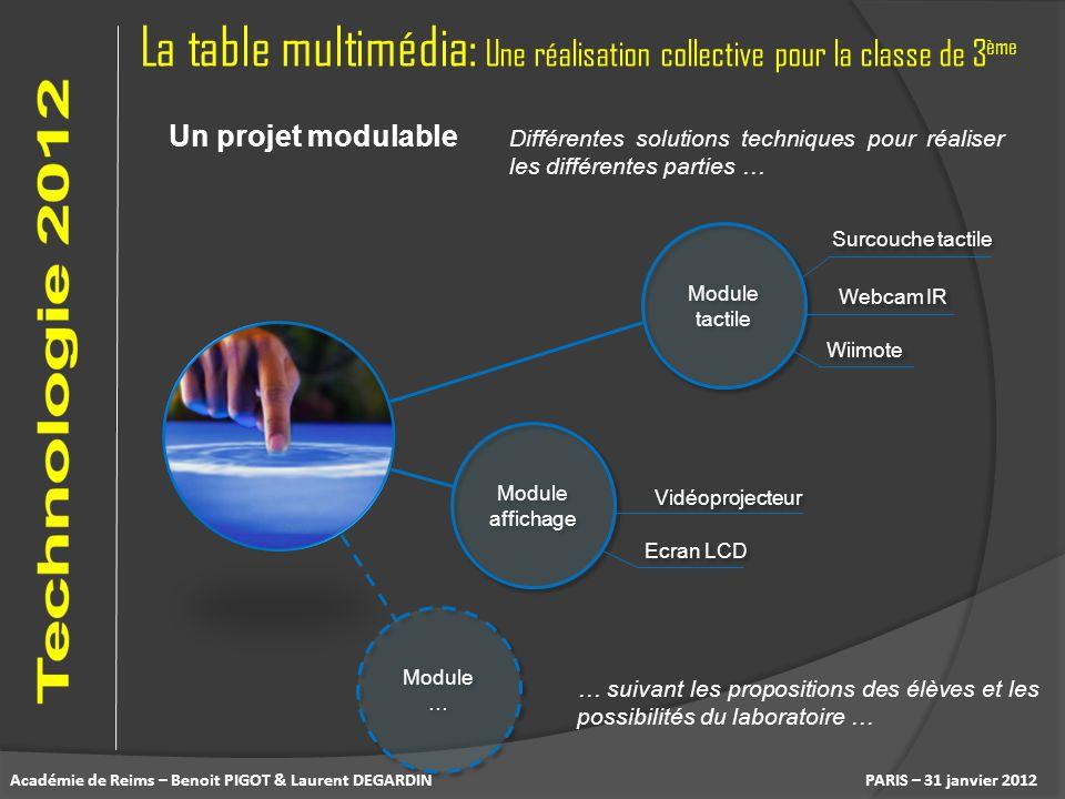 La table multimédia: Une réalisation collective pour la classe de 3 ème PARIS – 31 janvier 2012 Un projet modulable Différentes solutions techniques p