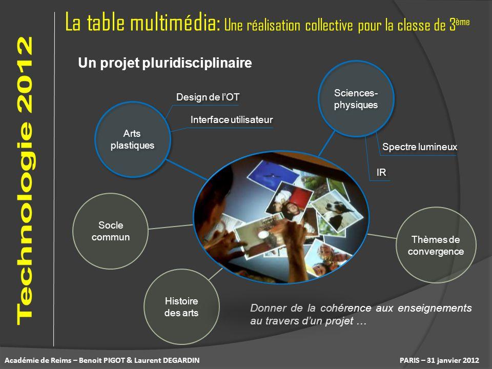 La table multimédia: Une réalisation collective pour la classe de 3 ème PARIS – 31 janvier 2012 Un projet pluridisciplinaire Arts plastiques Histoire