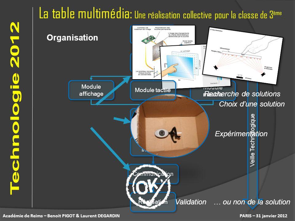 La table multimédia: Une réalisation collective pour la classe de 3 ème PARIS – 31 janvier 2012 Organisation Besoin CdCF Module meuble Module affichag