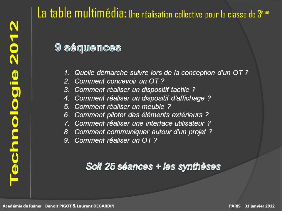 La table multimédia: Une réalisation collective pour la classe de 3 ème PARIS – 31 janvier 2012 1.Quelle démarche suivre lors de la conception dun OT
