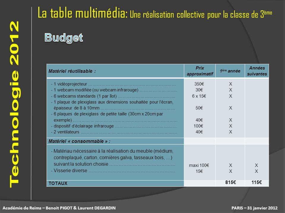 La table multimédia: Une réalisation collective pour la classe de 3 ème PARIS – 31 janvier 2012 Matériel réutilisable : Prix approximatif 1 ère année