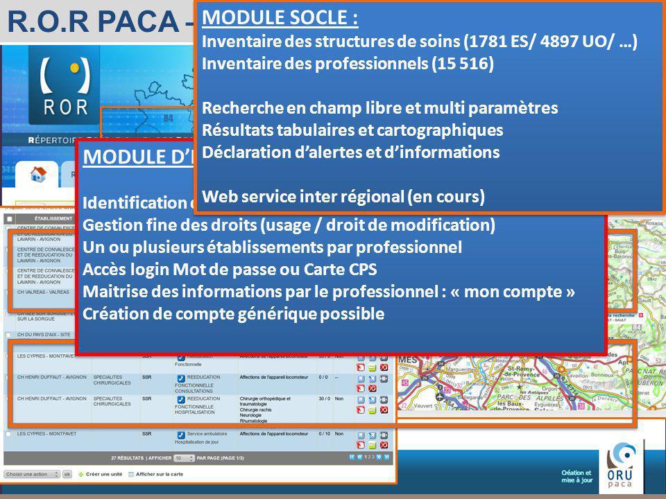 Observatoire Régional des Urgences Provence-Alpes-Côte dAzur R.O.R PACA – Accueil Professionnel de santé MODULE DIDENTIFICATION : Identification de ch