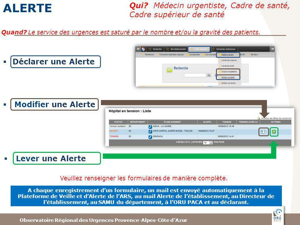 Observatoire Régional des Urgences Provence-Alpes-Côte dAzur ALERTE Qui.