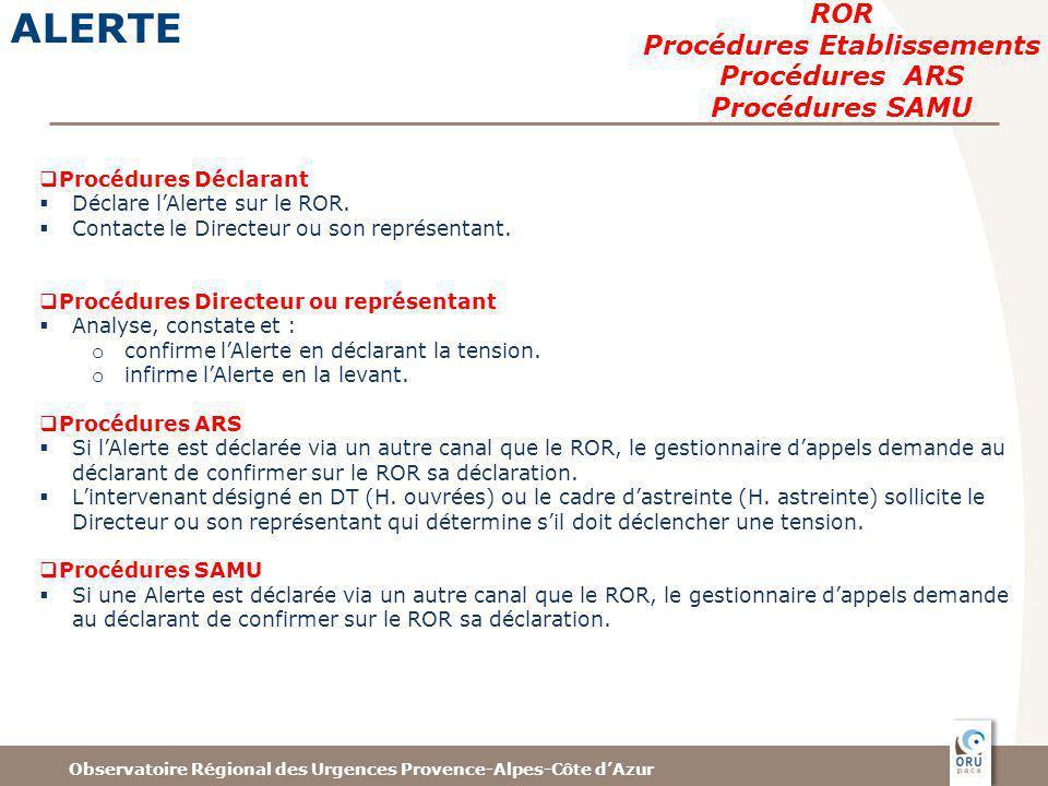 Observatoire Régional des Urgences Provence-Alpes-Côte dAzur ALERTE ROR Procédures Etablissements Procédures ARS Procédures SAMU Procédures Déclarant Déclare lAlerte sur le ROR.