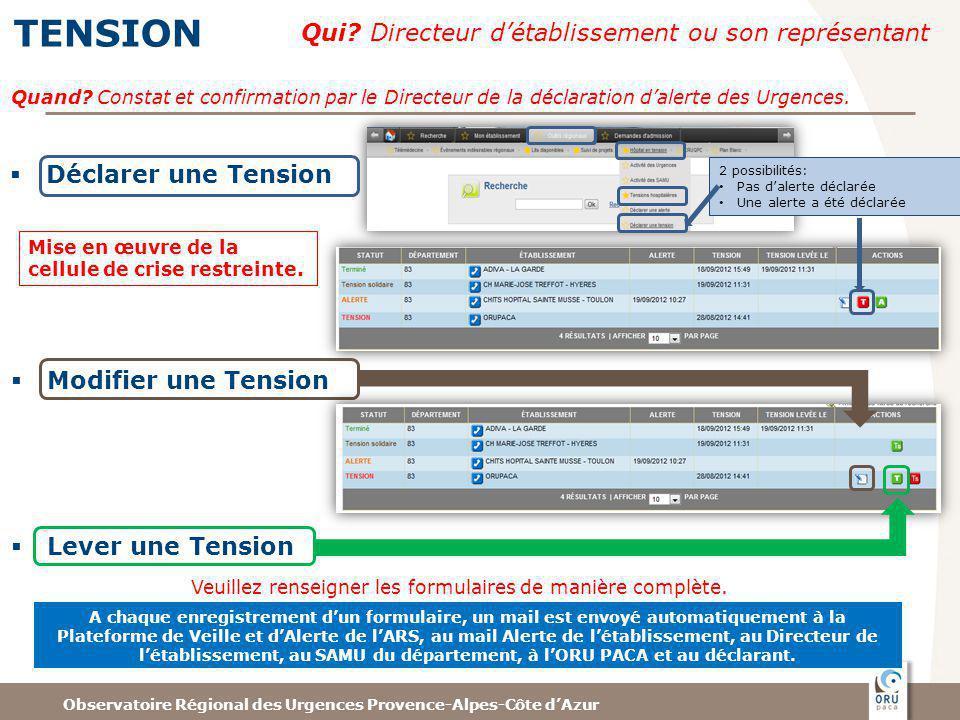 Observatoire Régional des Urgences Provence-Alpes-Côte dAzur TENSION Qui? Directeur détablissement ou son représentant Déclarer une Tension 2 possibil