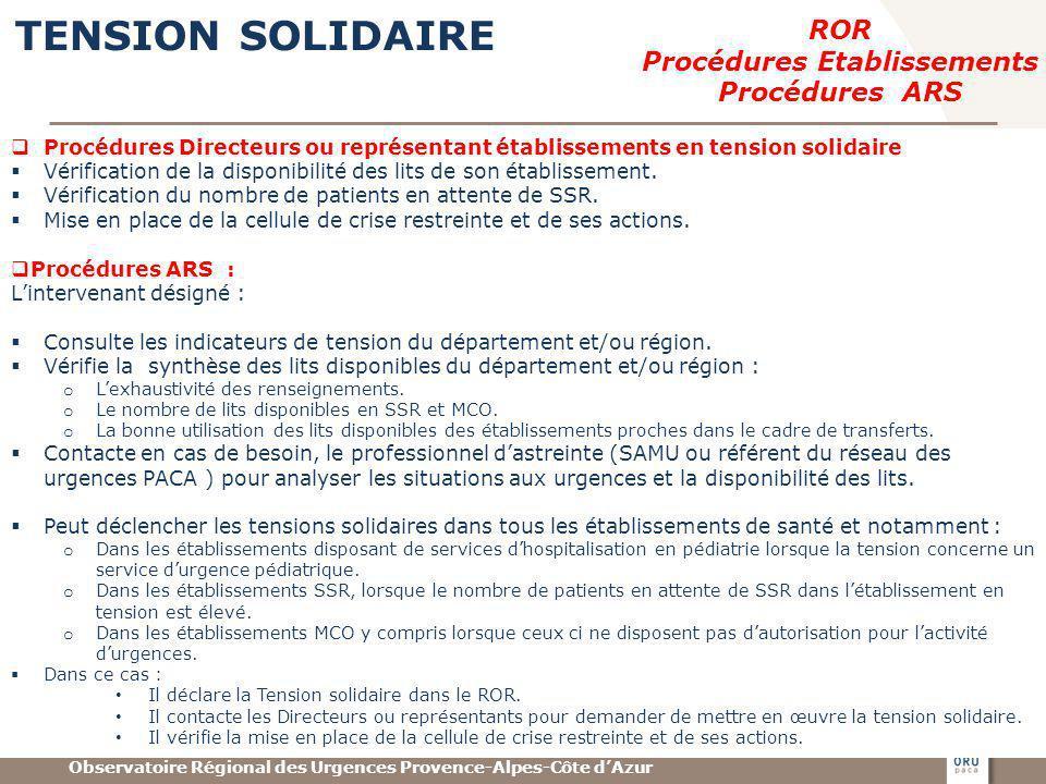 Observatoire Régional des Urgences Provence-Alpes-Côte dAzur TENSION SOLIDAIRE ROR Procédures Etablissements Procédures ARS Procédures Directeurs ou r