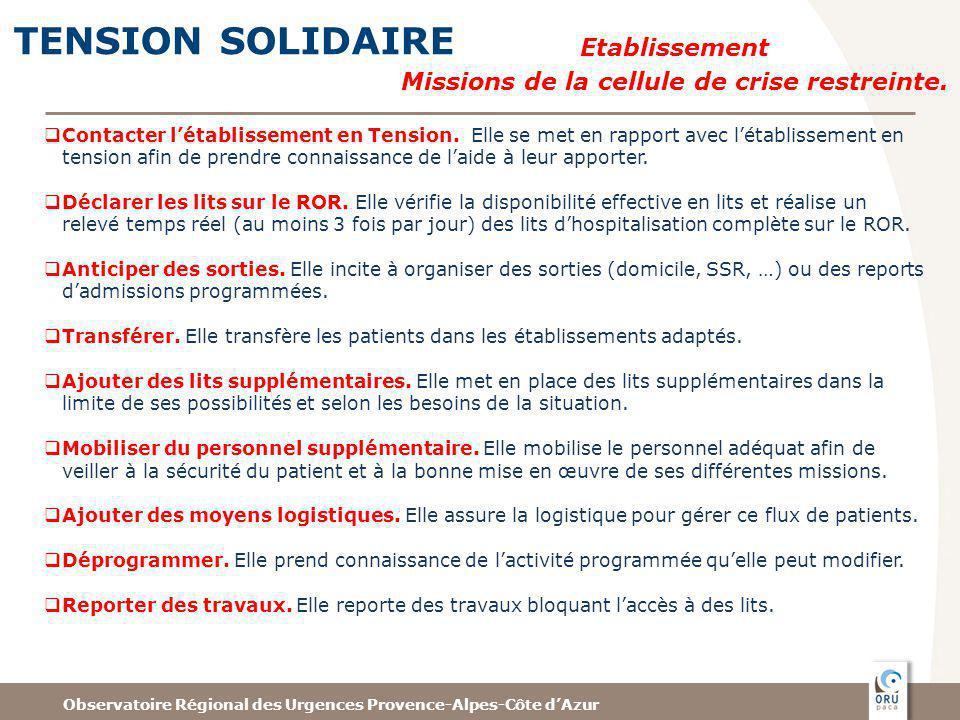 Observatoire Régional des Urgences Provence-Alpes-Côte dAzur TENSION SOLIDAIRE Contacter létablissement en Tension.