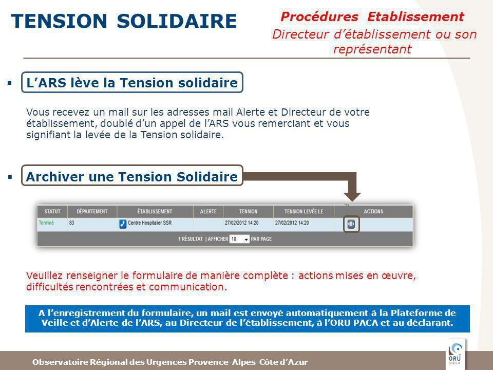 Observatoire Régional des Urgences Provence-Alpes-Côte dAzur TENSION SOLIDAIRE Archiver une Tension Solidaire A lenregistrement du formulaire, un mail est envoyé automatiquement à la Plateforme de Veille et dAlerte de lARS, au Directeur de létablissement, à lORU PACA et au déclarant.
