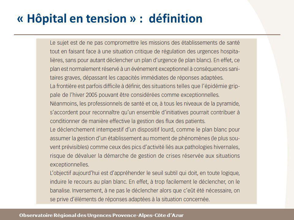 Observatoire Régional des Urgences Provence-Alpes-Côte dAzur « Hôpital en tension » : définition