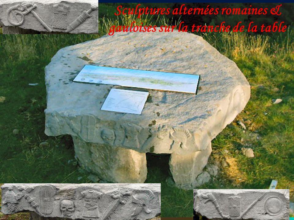 Sculptures alternées romaines & gauloises sur la tranche de la table