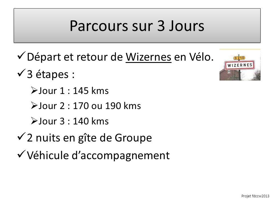 Parcours sur 3 Jours Départ et retour de Wizernes en Vélo. 3 étapes : Jour 1 : 145 kms Jour 2 : 170 ou 190 kms Jour 3 : 140 kms 2 nuits en gîte de Gro