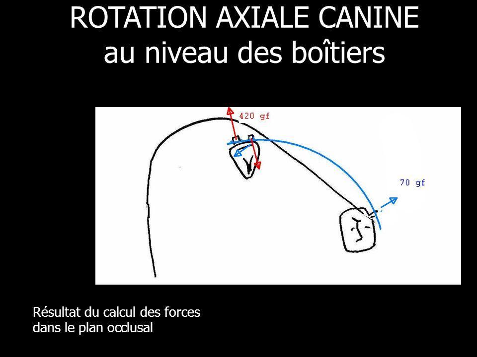 Résultat du calcul des forces dans le plan occlusal ROTATION AXIALE CANINE au niveau des boîtiers