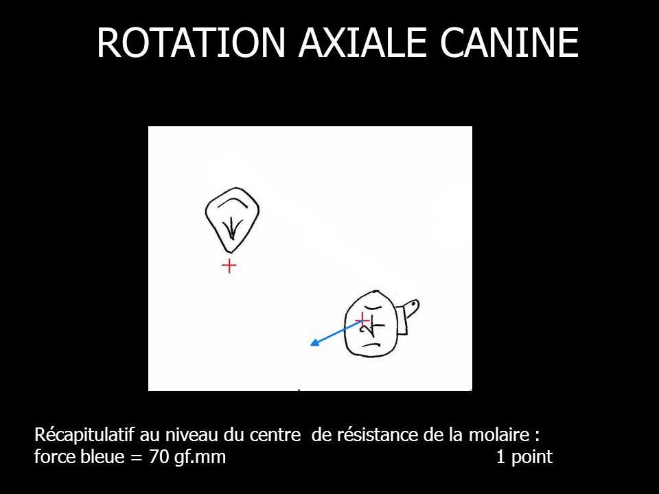 Récapitulatif au niveau du centre de résistance de la molaire : force bleue = 70 gf.mm 1 point ROTATION AXIALE CANINE