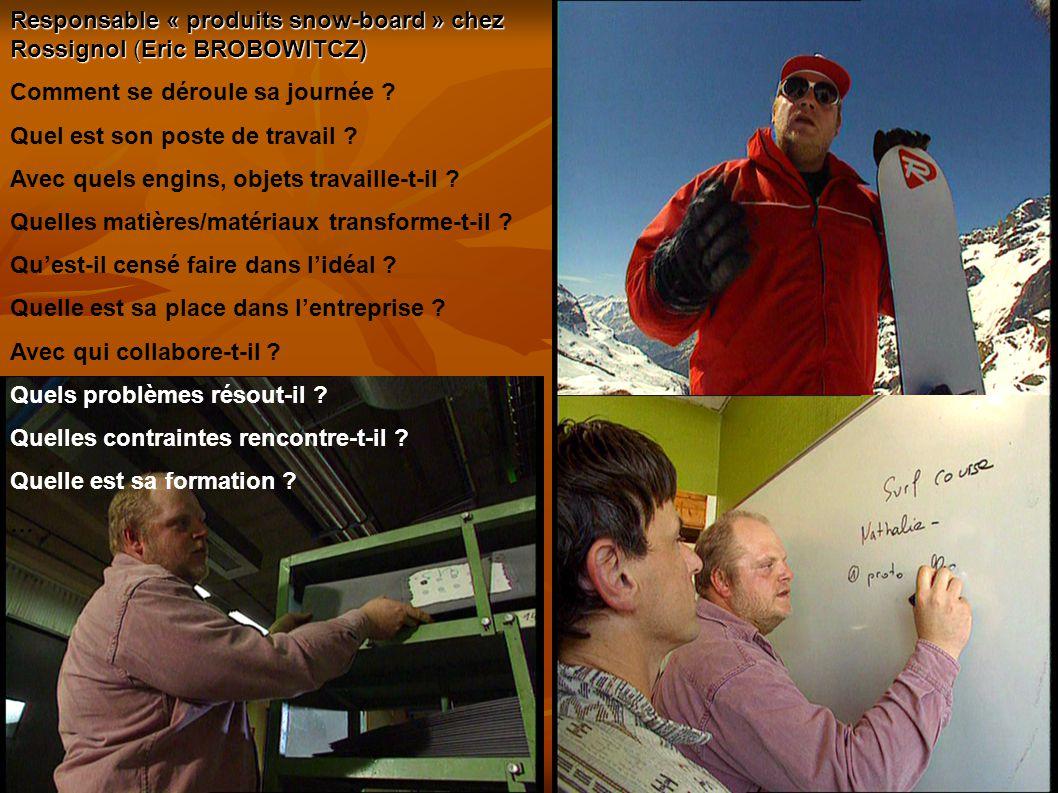 16 Responsable « produits snow-board » chez Rossignol (Eric BROBOWITCZ) Comment se déroule sa journée .