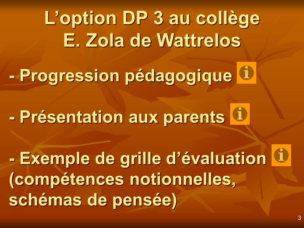 3 - Progression pédagogique - Présentation aux parents - Exemple de grille dévaluation (compétences notionnelles, schémas de pensée) Loption DP 3 au collège E.