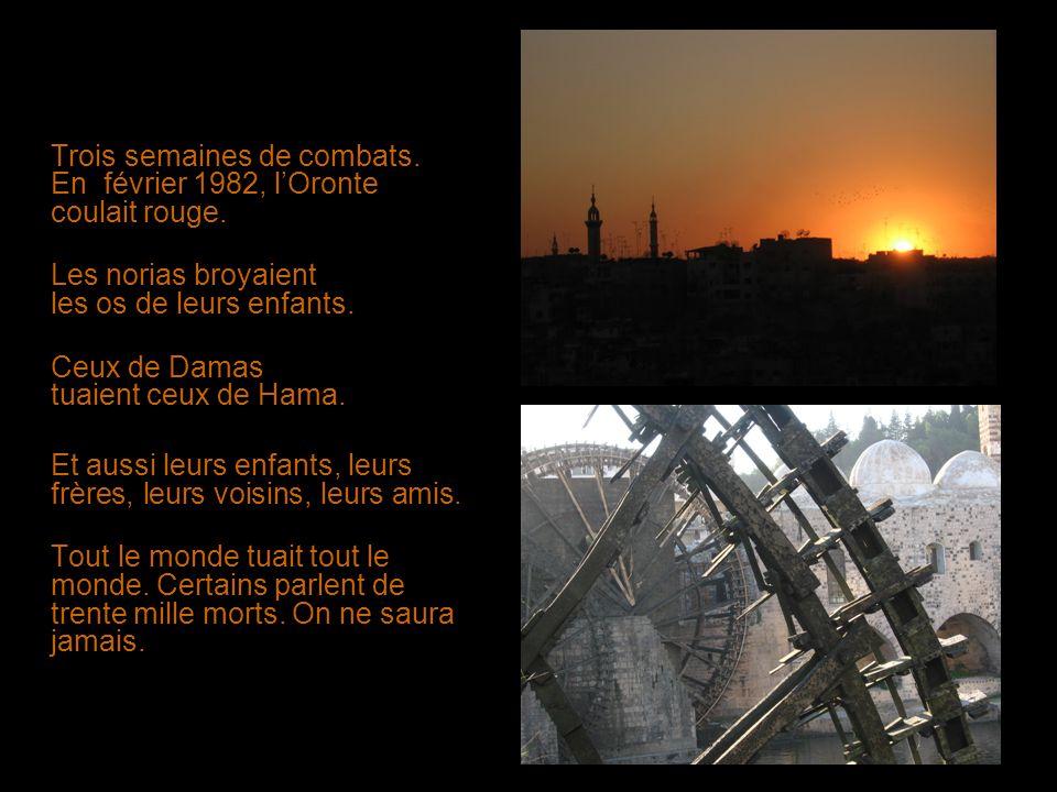 Trois semaines de combats. En février 1982, lOronte coulait rouge. Les norias broyaient les os de leurs enfants. Ceux de Damas tuaient ceux de Hama. E