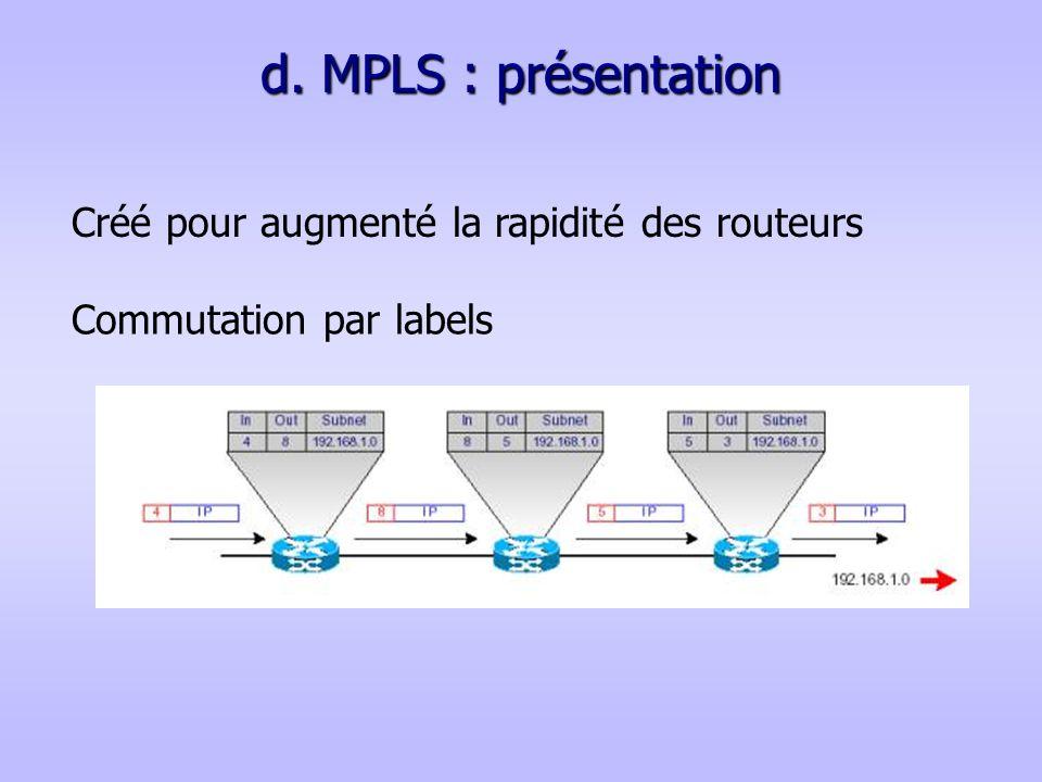 d. MPLS : présentation Commutation par labels Créé pour augmenté la rapidité des routeurs