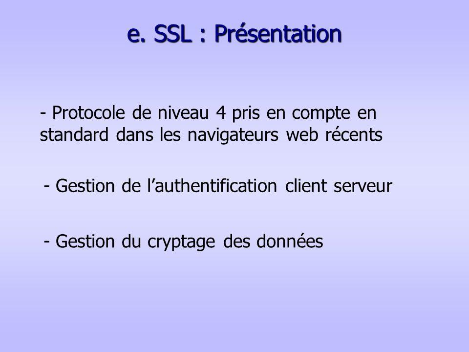 e. SSL : Présentation - Protocole de niveau 4 pris en compte en standard dans les navigateurs web récents - Gestion de lauthentification client serveu