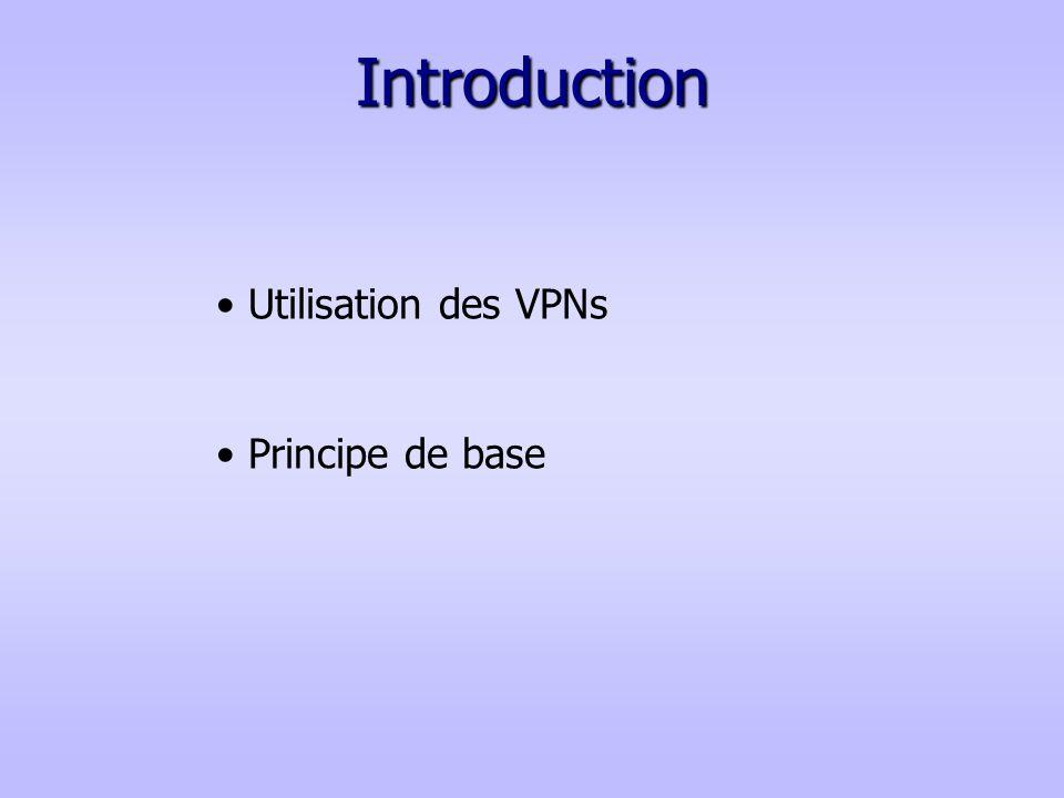 Introduction Utilisation des VPNs Principe de base