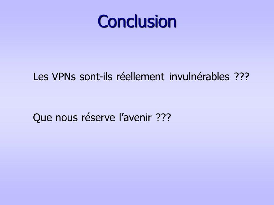 Conclusion Les VPNs sont-ils réellement invulnérables ??? Que nous réserve lavenir ???
