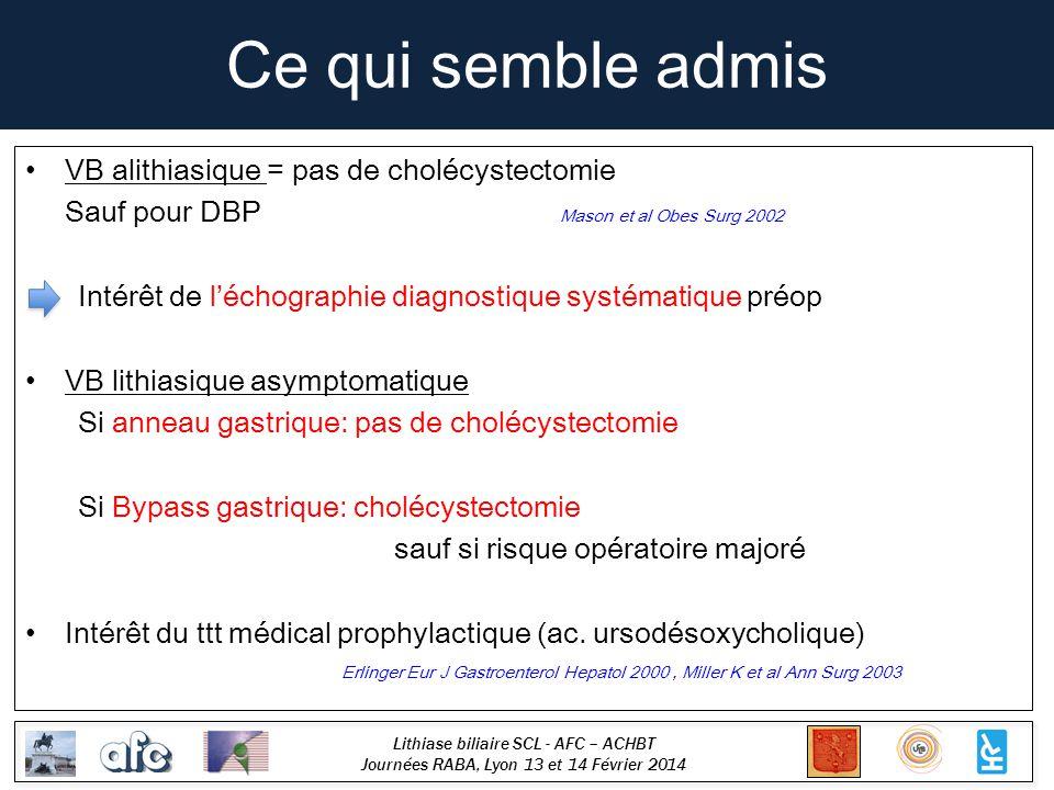 Lithiase biliaire SCL - AFC – ACHBT Journées RABA, Lyon 13 et 14 Février 2014 Ce qui semble admis VB alithiasique = pas de cholécystectomie Sauf pour