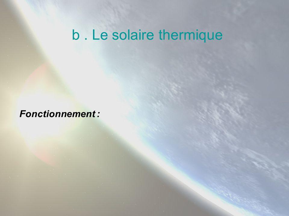 b. Le solaire thermique Fonctionnement :