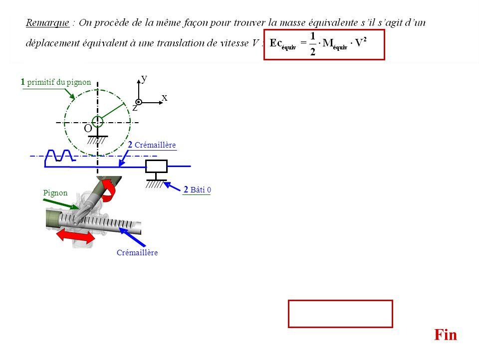 Fin Pignon Crémaillère 2 Crémaillère 1 primitif du pignon Soit le solide 1 constitué dun arbre moteur solidaire dun pignon. On note J son linertie par