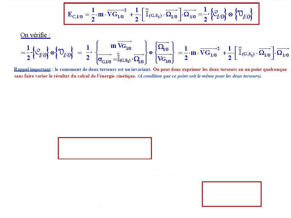 Rappel important : le comoment de deux torseurs est un invariant. On peut donc exprimer les deux torseurs en un point quelconque sans faire varier le