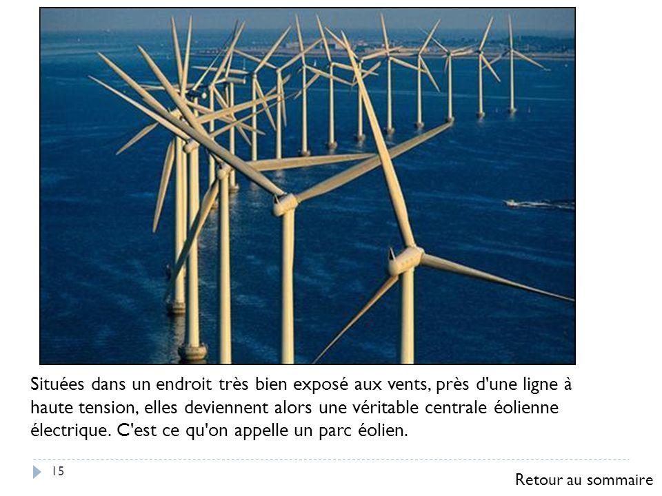 15 Situées dans un endroit très bien exposé aux vents, près d'une ligne à haute tension, elles deviennent alors une véritable centrale éolienne électr