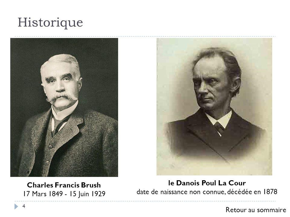 Historique 4 Charles Francis Brush 17 Mars 1849 - 15 Juin 1929 le Danois Poul La Cour date de naissance non connue, décédée en 1878 Retour au sommaire