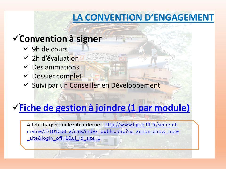 Convention à signer 9h de cours 2h dévaluation Des animations Dossier complet Suivi par un Conseiller en Développement Fiche de gestion à joindre (1 par module) LA CONVENTION DENGAGEMENT A télécharger sur le site internet: http://www.ligue.fft.fr/seine-et- marne/37L01000_a/cms/index_public.php us_action=show_note _site&login_off=1&ui_id_site=1http://www.ligue.fft.fr/seine-et- marne/37L01000_a/cms/index_public.php us_action=show_note _site&login_off=1&ui_id_site=1