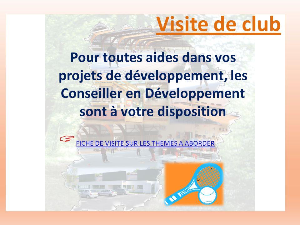 Visite de club Pour toutes aides dans vos projets de développement, les Conseiller en Développement sont à votre disposition FICHE DE VISITE SUR LES THEMES A ABORDER