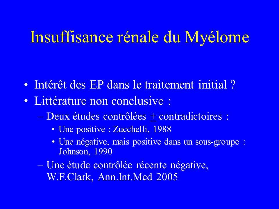 Insuffisance rénale du Myélome Intérêt des EP dans le traitement initial ? Littérature non conclusive : –Deux études contrôlées + contradictoires : Un