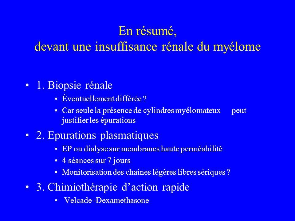 En résumé, devant une insuffisance rénale du myélome 1. Biopsie rénale Éventuellement différée ? Car seule la présence de cylindres myélomateux peut j