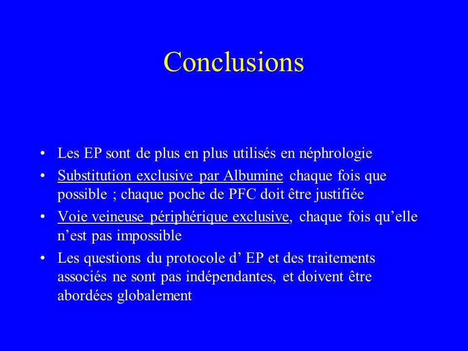 Conclusions Les EP sont de plus en plus utilisés en néphrologie Substitution exclusive par Albumine chaque fois que possible ; chaque poche de PFC doi