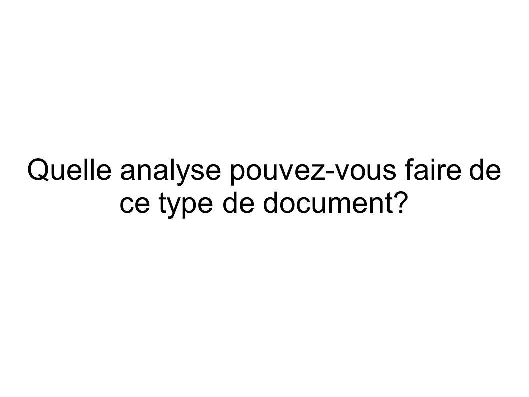Quelle analyse pouvez-vous faire de ce type de document?